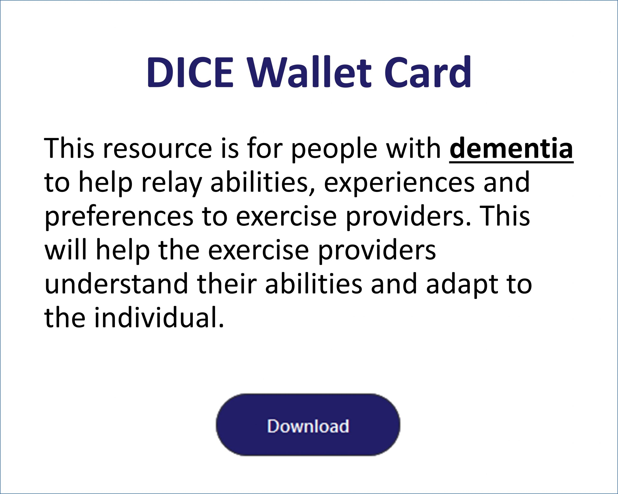 DICE Wallet Card for Dementia