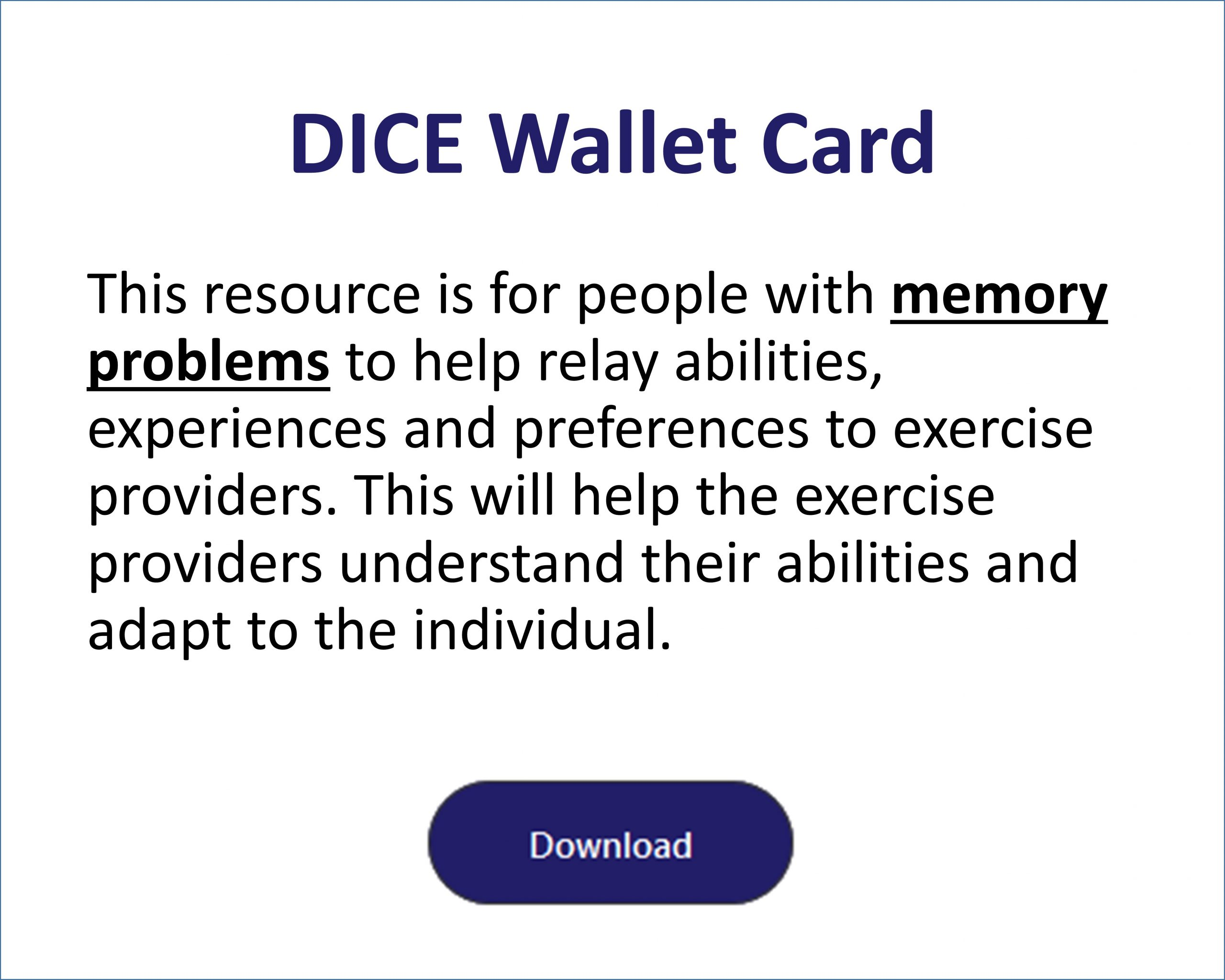 DICE Wallet Card for Memory Problems